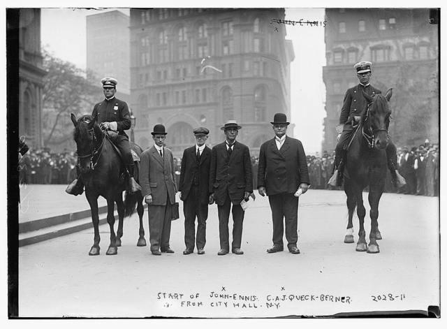 Start of John-Ennis C.A.J.  Queck-Berner from city hall, N.Y.