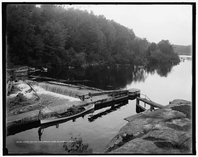 State dam and lock, Saranac River, Adirondack Mts., N.Y.
