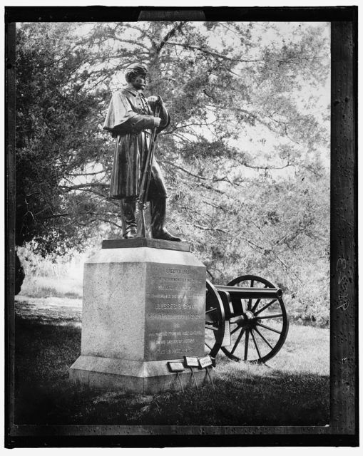 [Statue erected in 1886 by 21st Illinois Regiment veterans, commemorating spot where Ulysses S. Grant was commissioned a general in 1861]