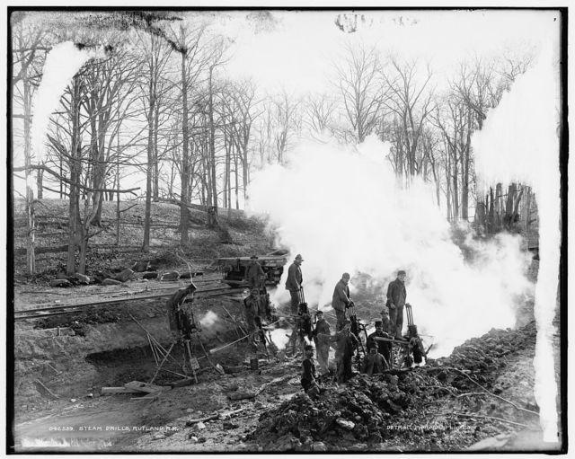 Steam drills, Rutland R.R. [Railroad]