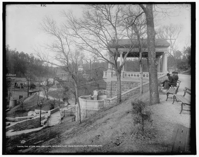 Steps and Pavilion, Government Reservation, Hot Springs, Ark., The
