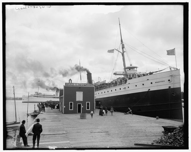 [Str. Manitou at dock, Harbor Springs, Mich.]