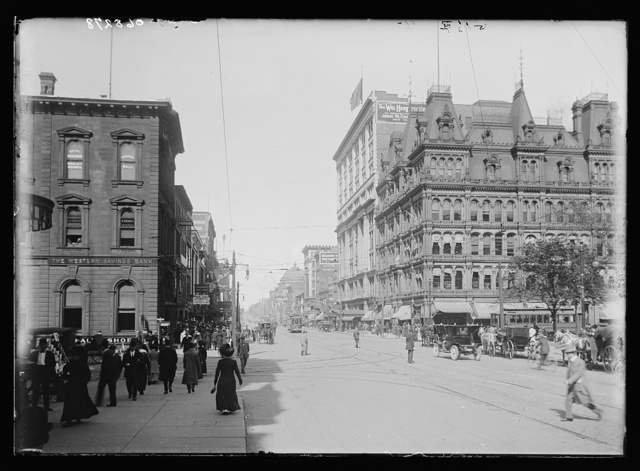 [Street at junction with Court Street, probably Buffalo, N.Y.]