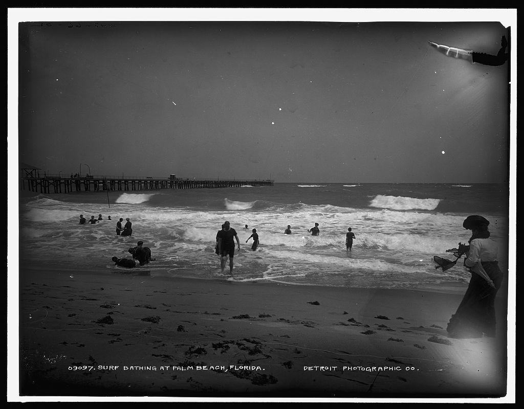 Surf bathing at Palm Beach, Florida