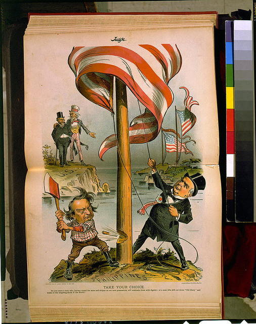"""Take your choice--Do you want a man who, having raised the stars and stripes on our new possessions, ... or a man who will cut down """"Old Glory"""" ...? / Victor Gillam ; Sackett & Wilhelms Litho. & Ptg. Co., New York."""