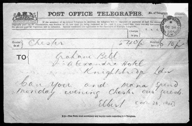 Telegram from Elsie Bell Grosvenor and Gilbert Hovey Grosvenor to Alexander Graham Bell, October 28, 1900