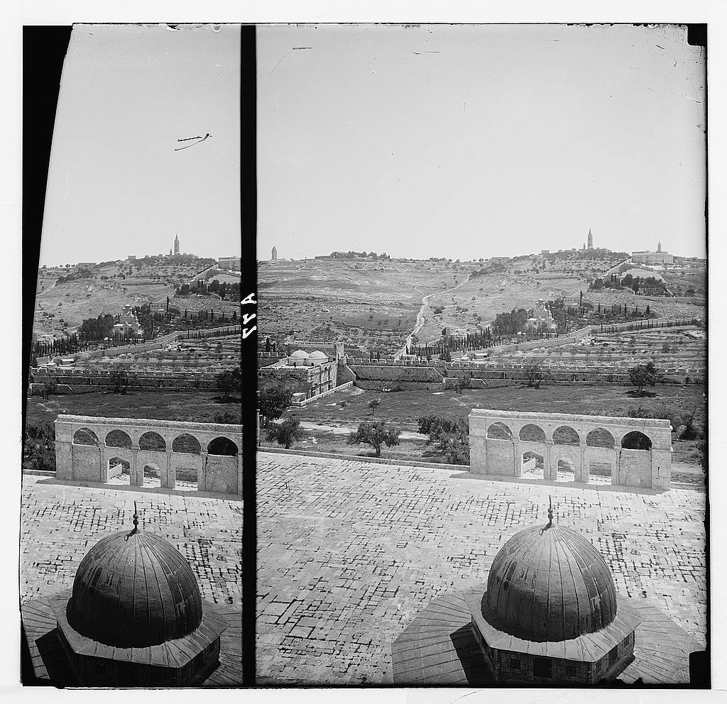 Temple area, Mosque of Omar [i.e., Dome of the Rock], etc. Golden Gate and Olivet from the dome of mosque.