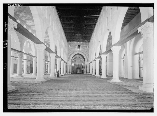 Temple Area, Mosque of Omar [i.e., Dome of the Rock], etc. Mosque el-Aksa [i.e., al-Aqsa], interior