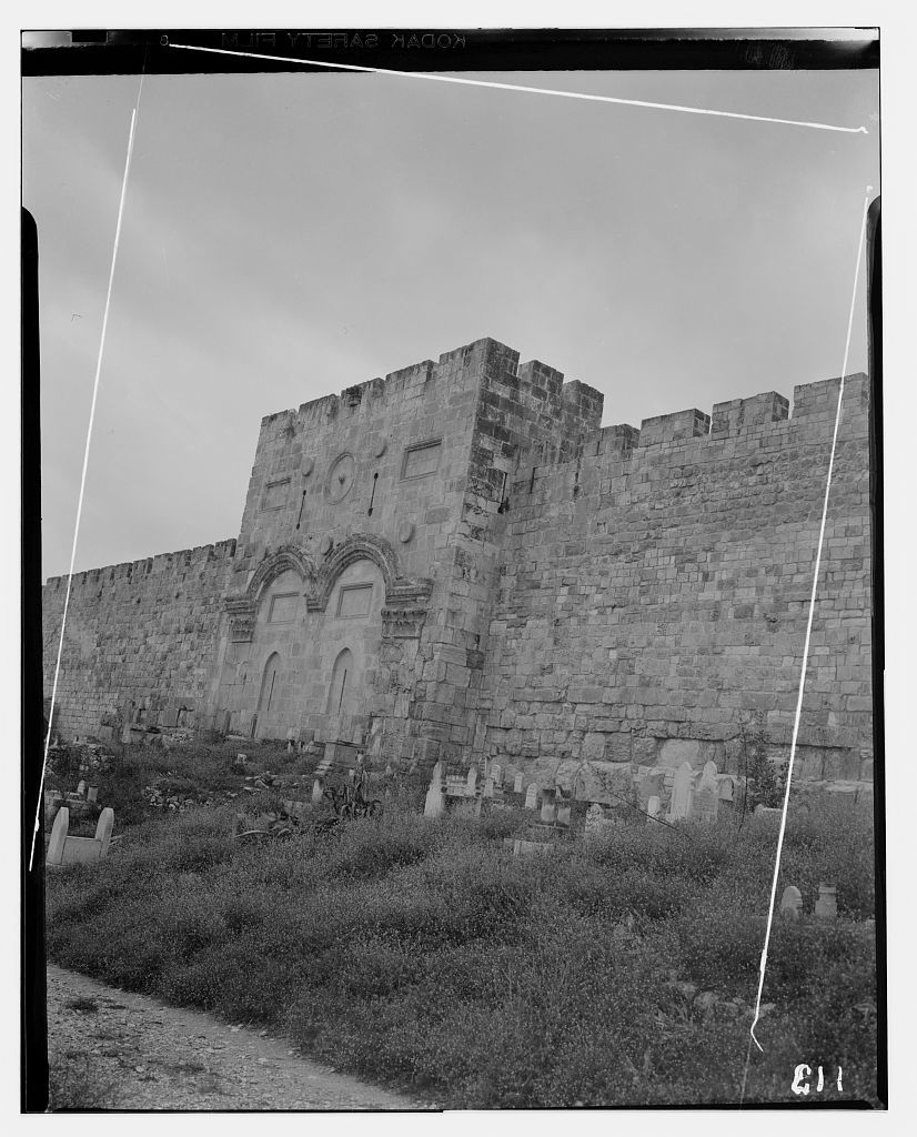 Temple Area, Mosque of Omar [i.e., Dome of the Rock], etc. The Golden Gate from the east