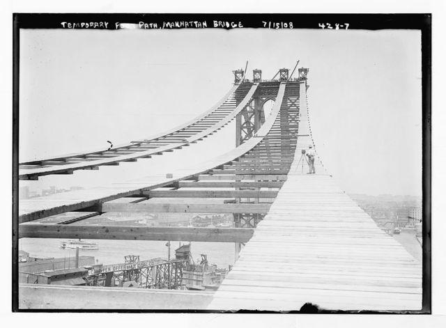 Temporary foot path atop Manhattan Bridge, New York