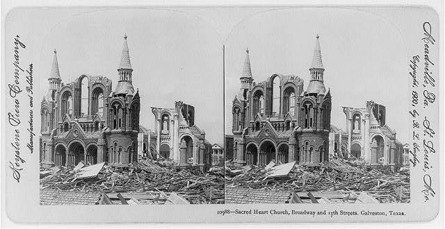 [Tex. - Galveston - Sacred Heart Church, Broadway & 13th St. - full view after hurricane and flood damage, Sept. 1900]