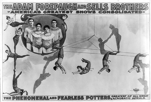 The Adam Forepaugh and Sells Borthers America's Greatest Shows Consolidated. The Phenomenal and Fearless Potters, ...