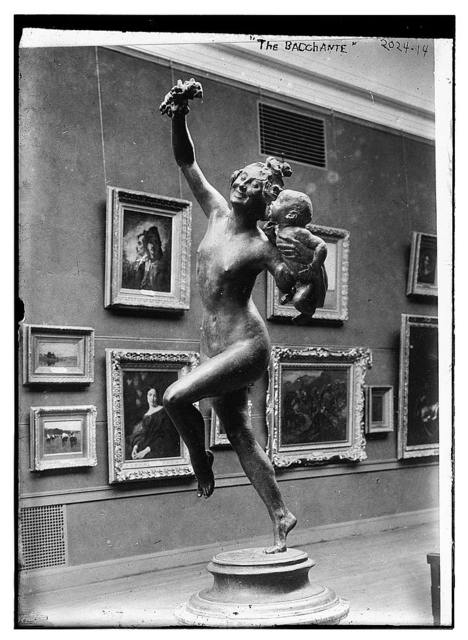 """The Bacchante"", full length view of statue of woman running with baby in left hand"