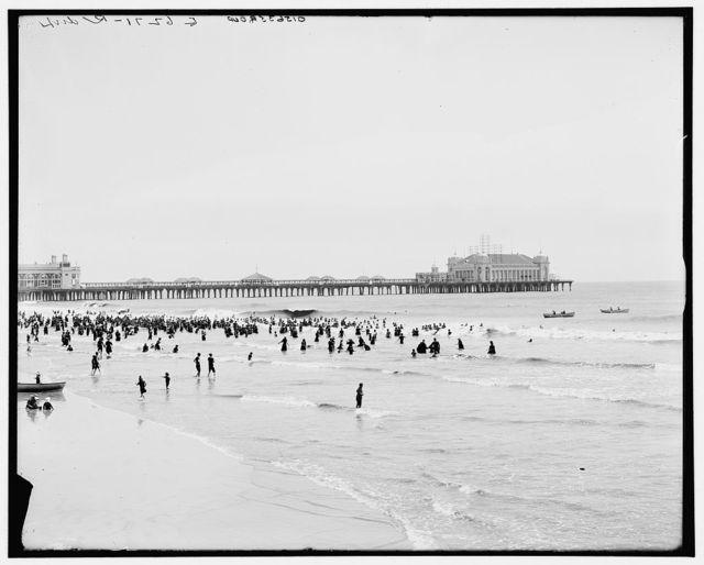 The Beach and broadwalk [sic], Atlantic City, N.J.