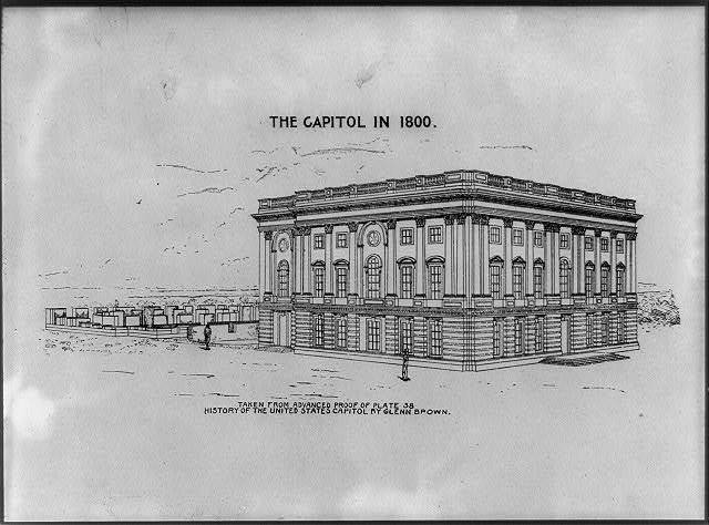 The Capitol in 1800 taken from advanced proof of plate 38 History of the United States Capitol by Glenn Brown