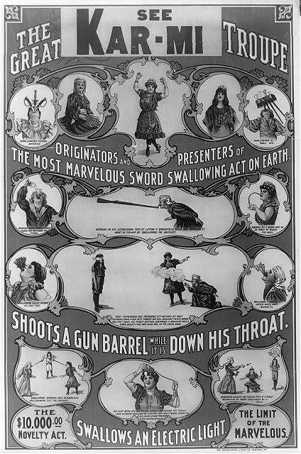 The great Victorina Troupe originators and presenters of the most marvelous sword swallowing act on earth.