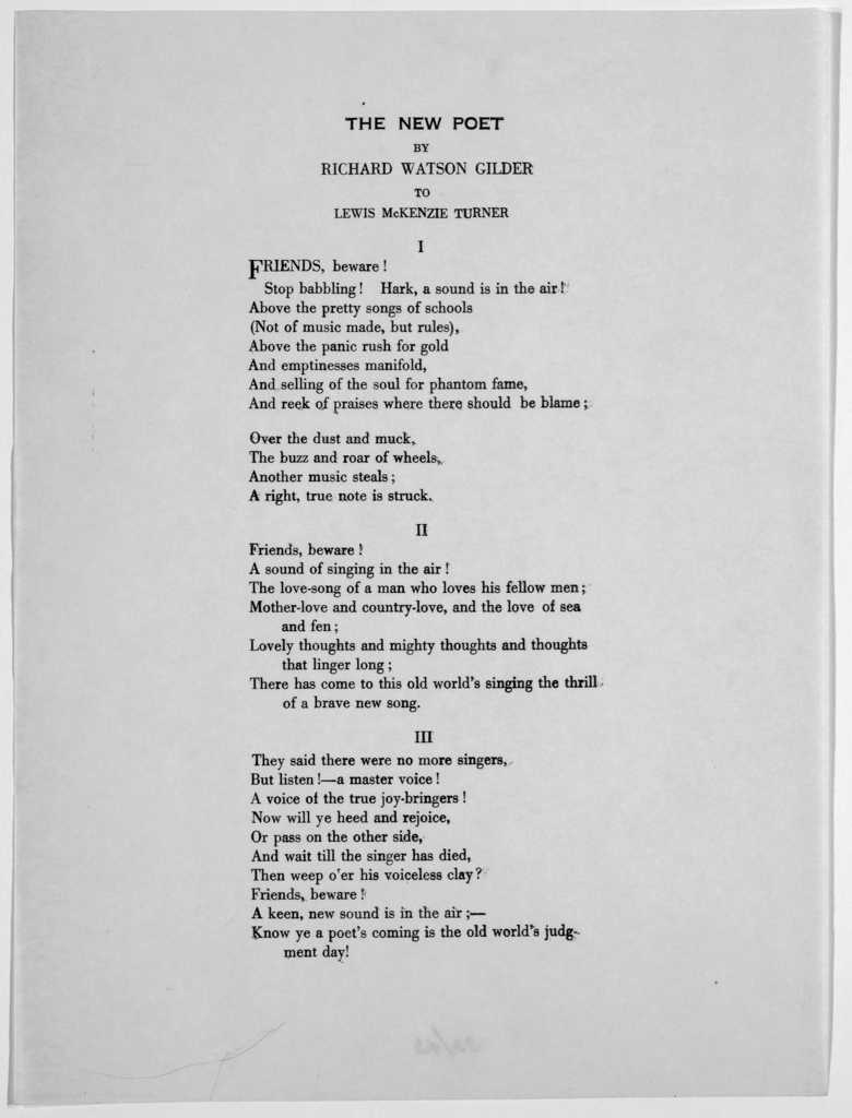 The new poet to Richard Watson Gilder to Lewis McKenzie Turner. [Baltimore? n. d.].