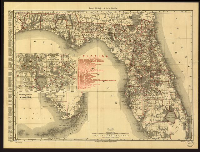 The Rand-McNally indexed county and township pocket map and shippers guide of Florida showing all railroads, cities, towns, villages, post offices, lakes, rivers, etc.