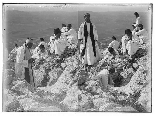 The Samaritan Passover on Mt. Gerizim. At Abraham's altar; [Another view of the Samaritan Passover on Mt. Gerizim at Abraham's Altar].