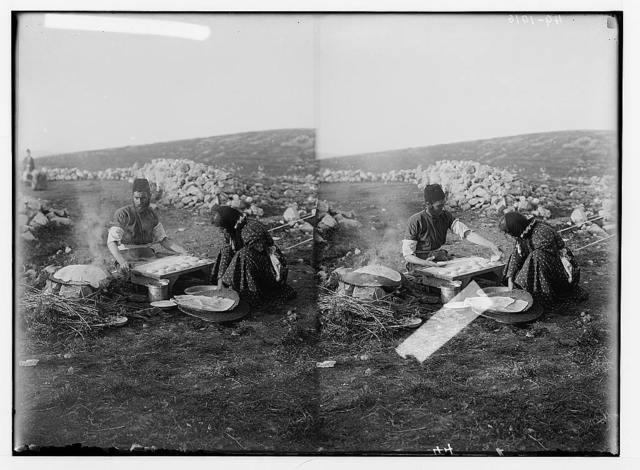 The Samaritan Passover on Mt. Gerizim. Baking the unleavened bread.