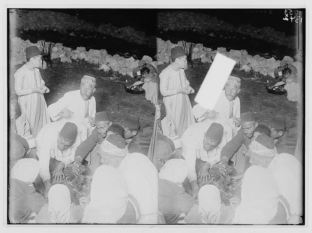 The Samaritan Passover on Mt. Gerizim. Eating the sacrifice in great haste.