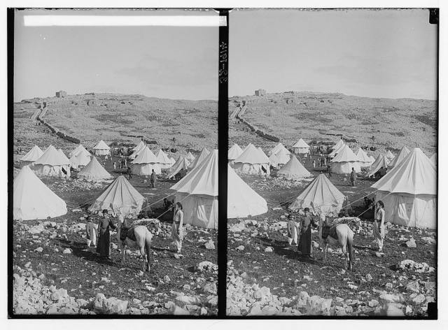 The Samaritan Passover on Mt. Gerizim. Encampment of the Samaritans on Mt. Gerizim.