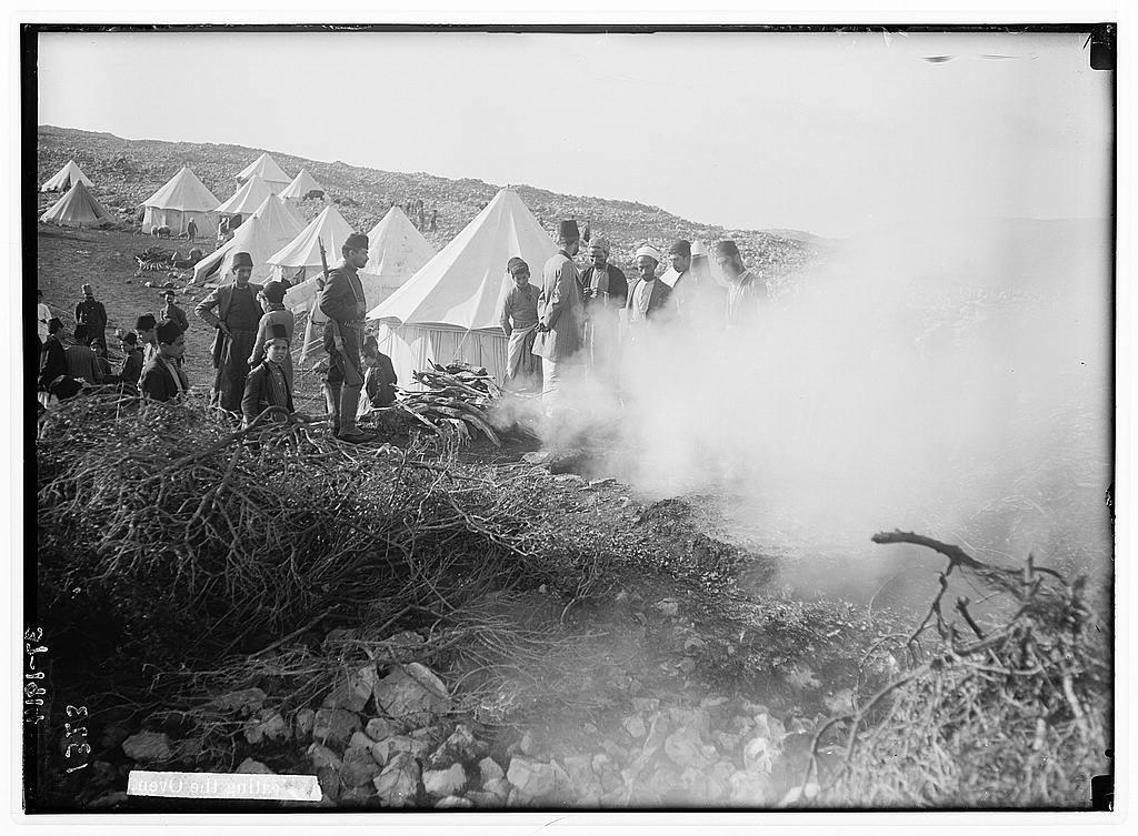 The Samaritan Passover on Mt. Gerizim. Heating the oven.