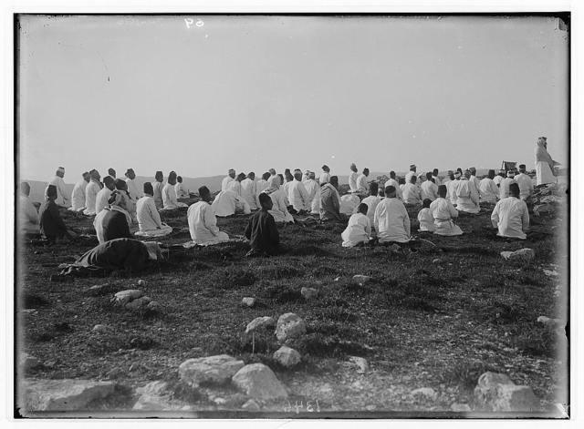 The Samaritan Passover on Mt. Gerizim. Prayer on the summit of Mt. Gerizim.