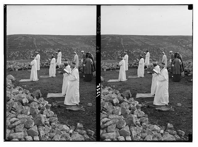 The Samaritan Passover on Mt. Gerizim. Praying standing.