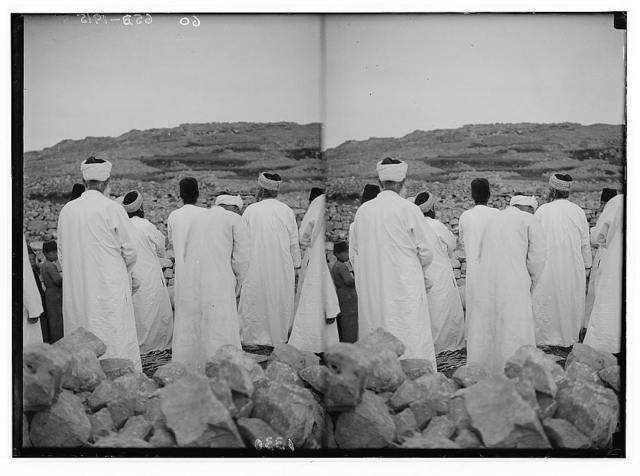 The Samaritan Passover on Mt. Gerizim. Praying with faces toward Gerizim.