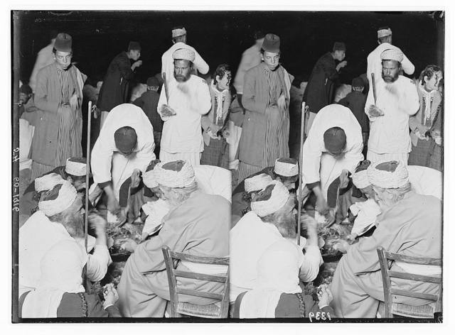 The Samaritan Passover on Mt. Gerizim. The high priest and his family eating the sacrifice.