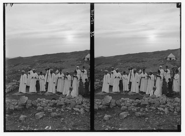 The Samaritan Passover on Mt. Gerizim. The high priest and the elders, praying.