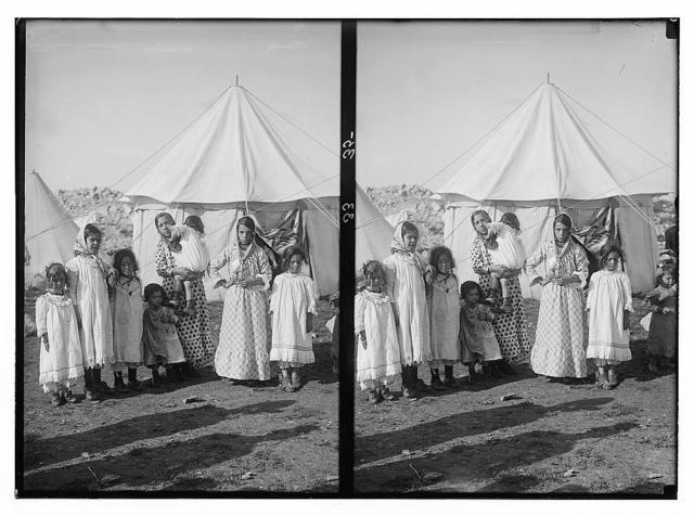 The Samaritans of Nablus (Shechhem). Samaritan mothers and their children.