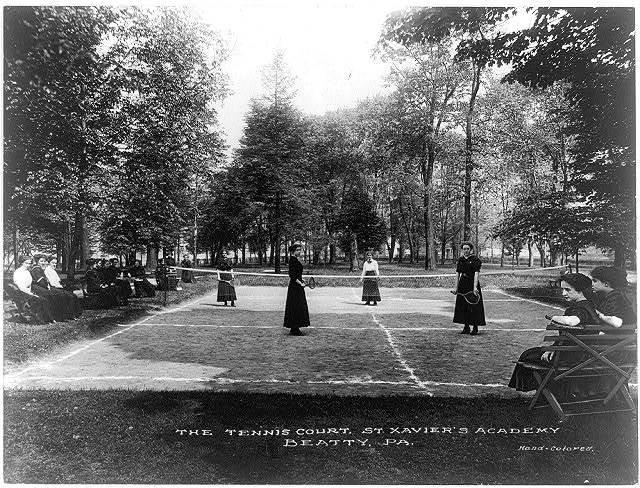 The tennis court, St. Xavier's Academy, Beatty, Pa.