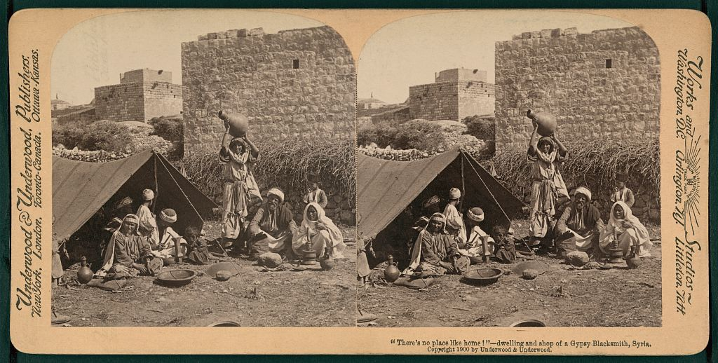 """""""There's no place like home!""""; dwelling and shop of a Gypsy blacksmith, Syria"""