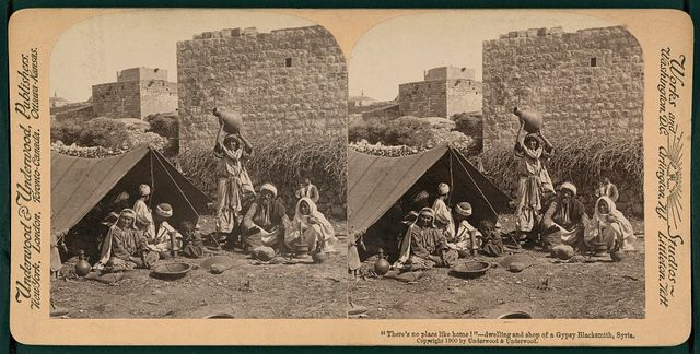 """There's no place like home!""; dwelling and shop of a Gypsy blacksmith, Syria"