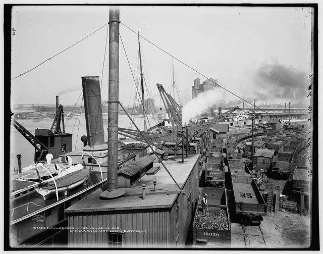 Thornberger hoists unloading ore, Lackawanna ore docks, Buffalo, N.Y.
