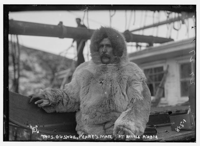 Thos. Gushue, Peary's mate, in fur parka, Battle Harbor