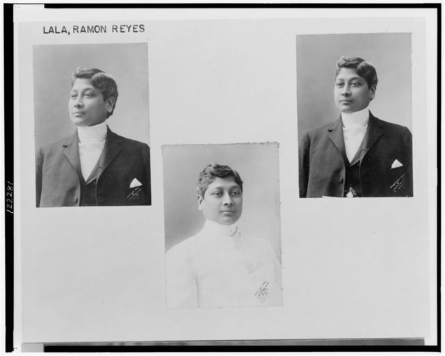 [Three head-and-shoulders photographs of Ramon Reyes Lala, two facing left, one (center) facing front]