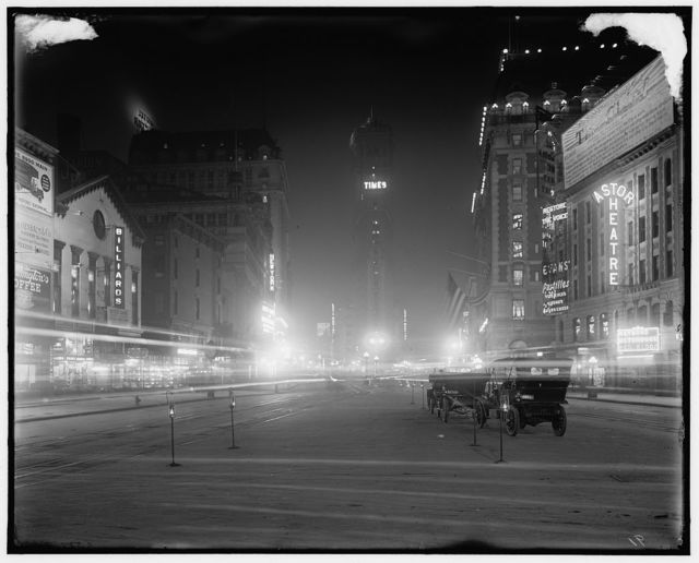 [Times Square at night, New York, N.Y.]