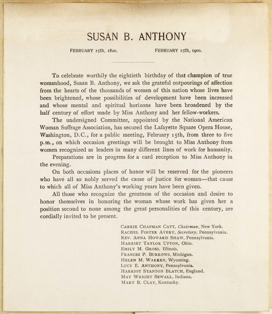 To celebrate worthily the eightieth birthday of Susan B. Anthony