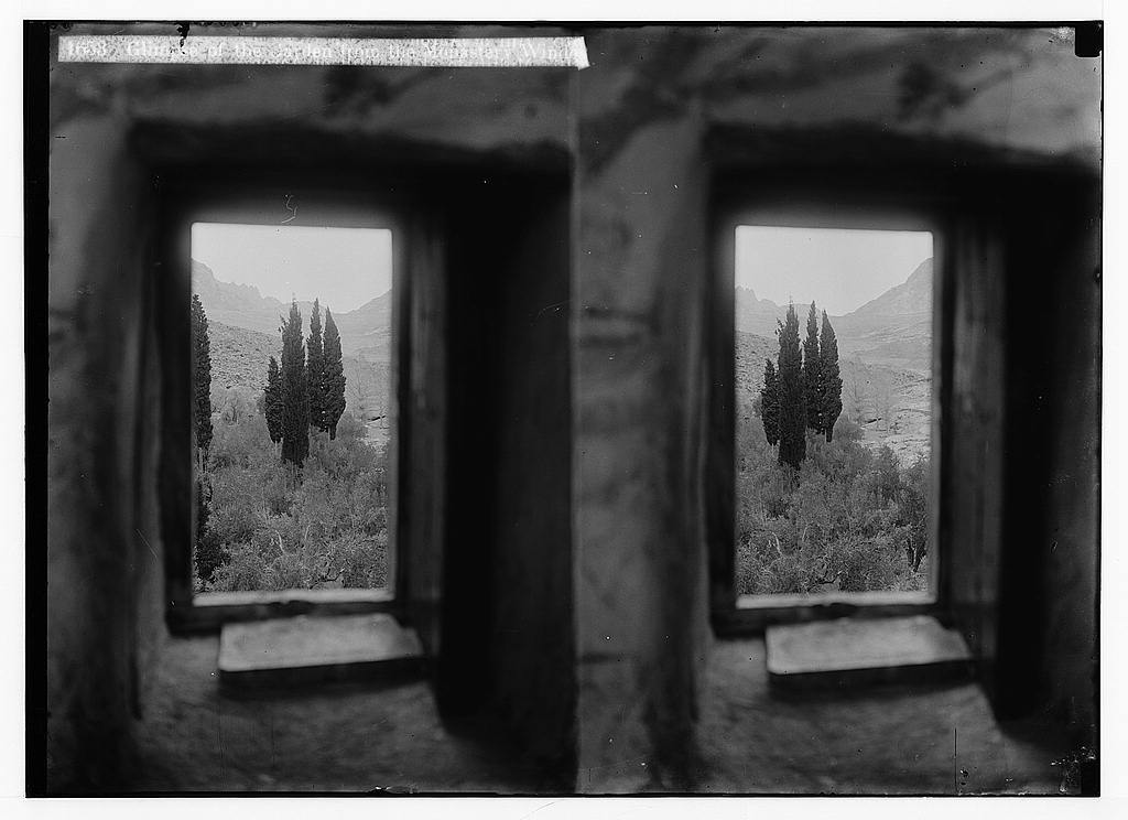 To Sinai via the Red Sea, Tor, and Wady Hebran. Glimpse of the garden from the monastery window [Monastery of St. Catherine].