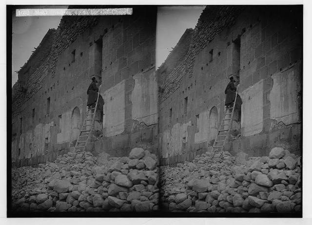 To Sinai via the Red Sea, Tor, and Wady Hebran. Monk climbing up to his cell-chapel [Monastery of St. Catherine].