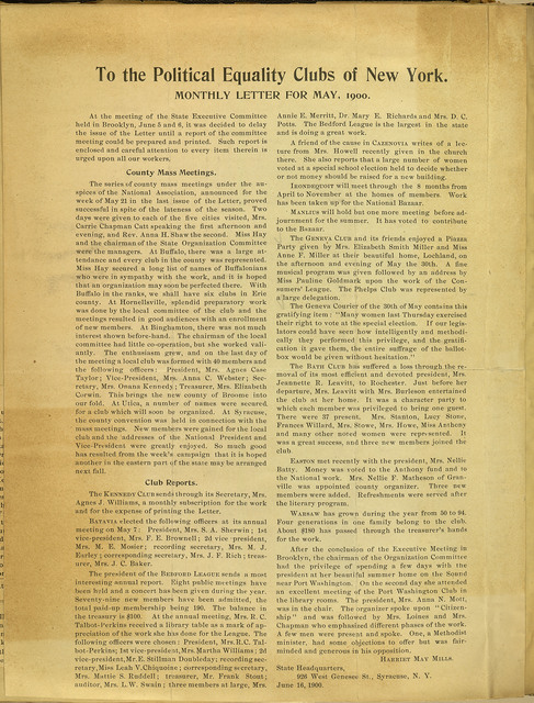 To the Political Equality Clubs of New York; Monthly Letter for May, 1900