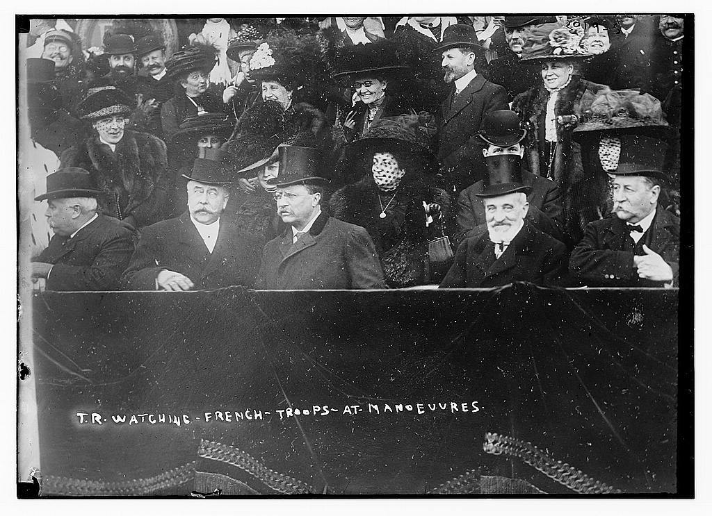 T.R. [Theodore Roosevelt] watching French troops at Manoeuvres
