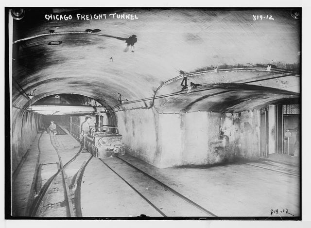 Tracks and train cars in Chicago freight tunnel