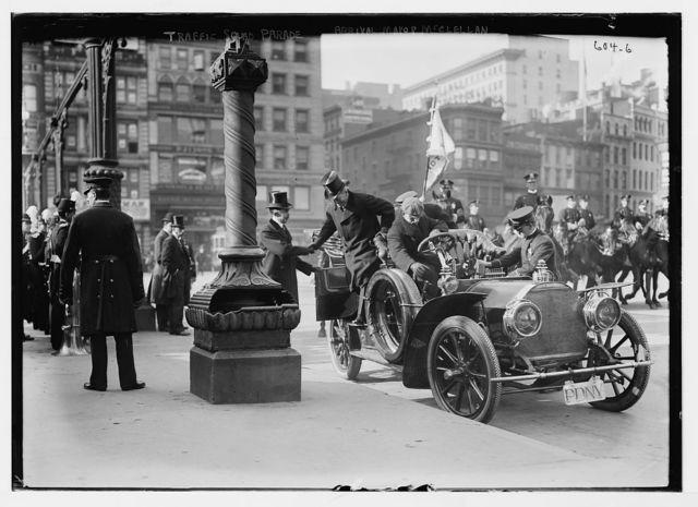 Traffic Squad Parade, Mayor Mc Clellan alighting from auto, New York