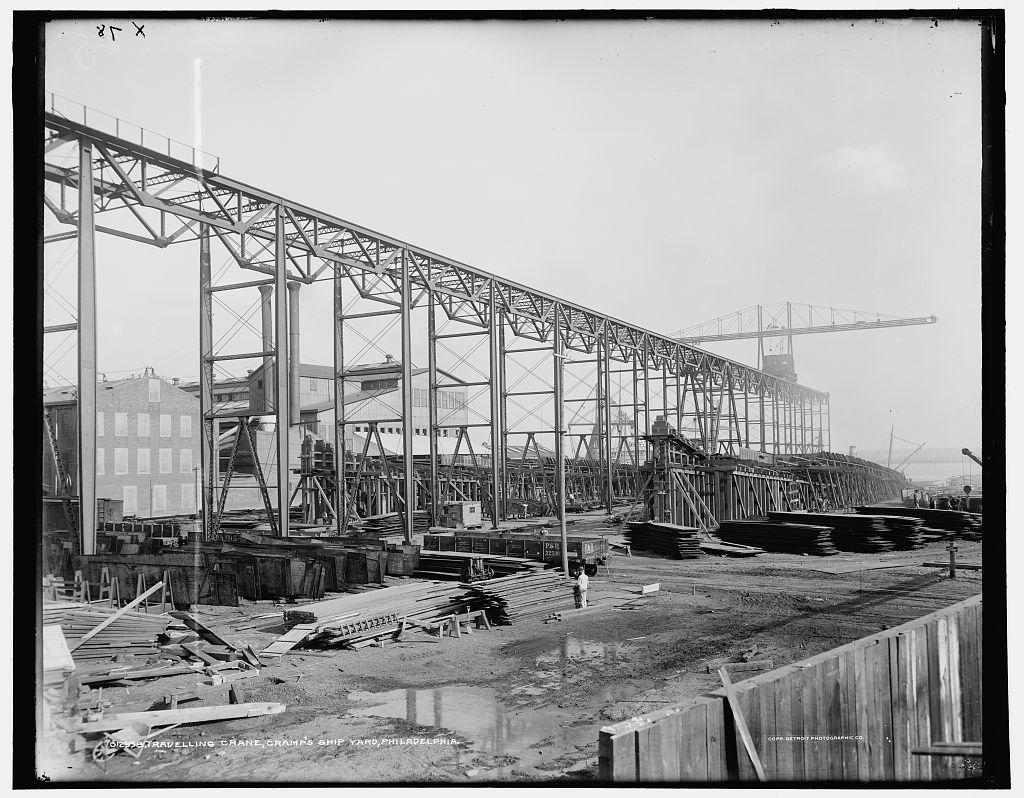 Travelling crane, Cramp's ship yard, Philadelphia