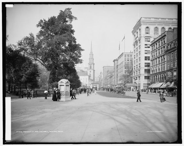 Tremont St. [Street] and the mall, Boston, Mass.