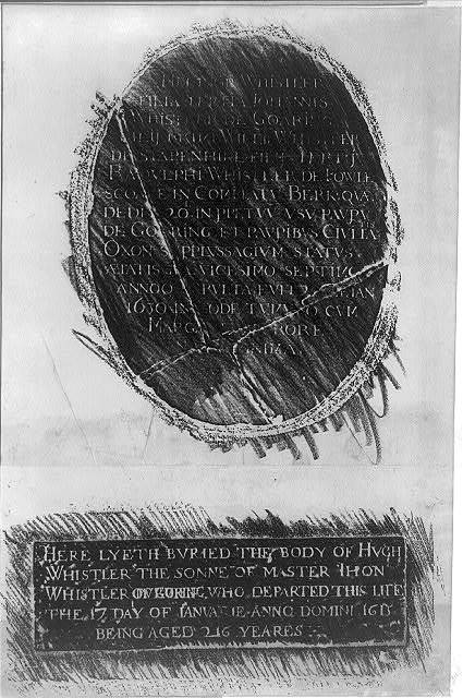 [Two rubbings from the brasses in memory of Helinor Whistler and Hugh Whistler in the Church at Goring on the Thames, England]